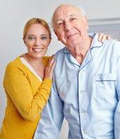 happy grandpa and her caretaker
