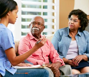 caregiver is asking questions about her patients